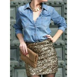 Gap Metallic Sequins Mini Skirt Size 6